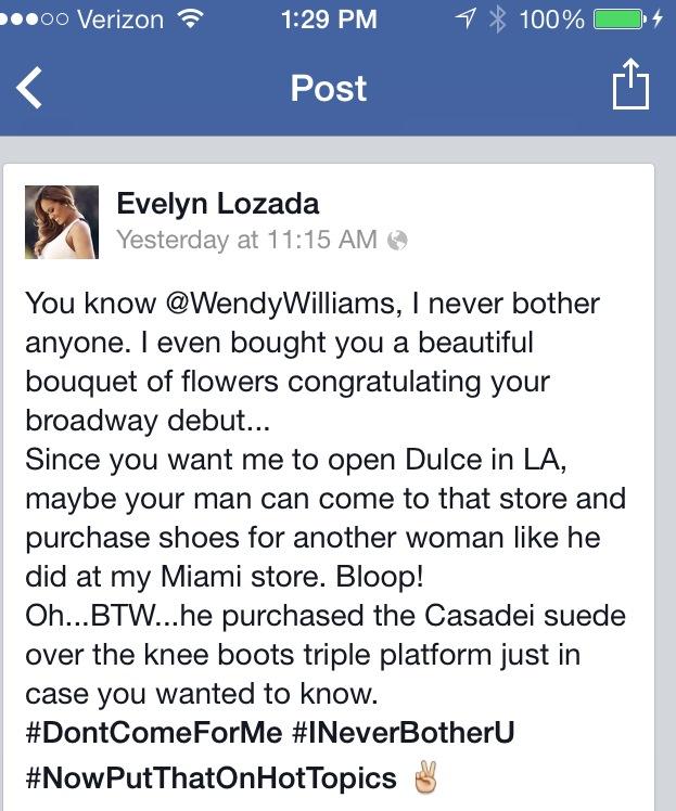 Evelyn Lozada FB Post